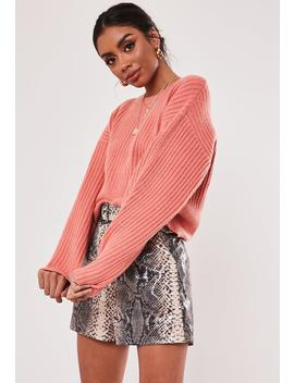 Terracotta Deep Rib Crew Neck Sweater by Missguided
