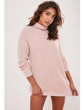 Petite Pink Basic Roll Neck Sweater Dress by Missguided