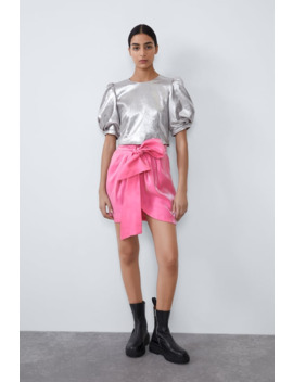 Shimmery Mini Skirt With Bow by Zara