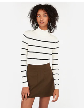 Stripe Ribbed Turtleneck Sweater by Express