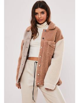 Nude Color Block Teddy Borg Trucker Jacket by Missguided