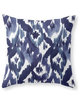 "Indigo Blue Ikat Throw Pillow, 20""X20"" With Pillow Insert by Society6"