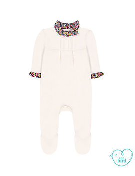 Little Bird Cream Floral Collared All In One by Mothercare