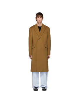 Brown Wool Double Breasted Coat by Raf Simons