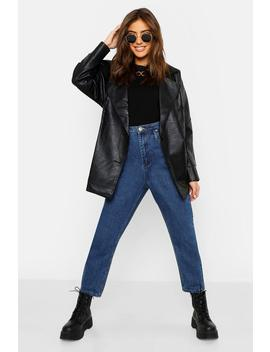 Belted Wrap Faux Leather Jacket by Boohoo