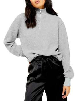 Curly Zip Up Funnel Neck Sweater by Topshop