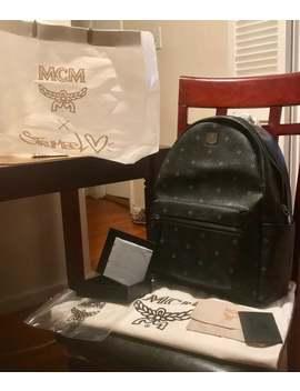 Mcm Visetos Medium Black Stark Backpack by Mcm