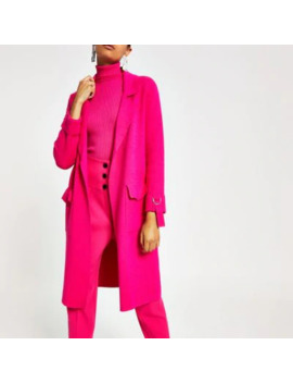 Bright Pink Knitted Duster Jacket by River Island