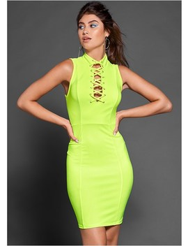 Neon Lace Up Bodycon Dress by Venus