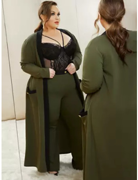 Self Employed   Color Block Belted Duster by Fashion To Figure
