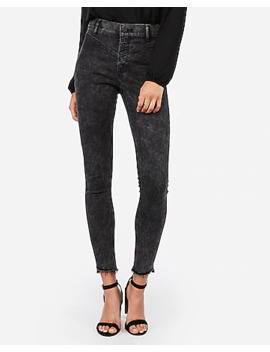 Super High Waisted Black Seamed Jean Ankle Leggings by Express
