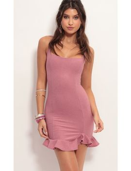 Monroe Ruffle Dress In Mauve Shimmer by Lucy In The Sky