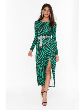 Cowl Of The Wild Zebra Midi Dress by Nasty Gal