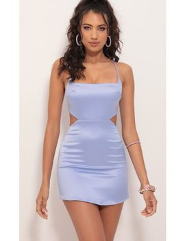 Alina Satin Hourglass Dress In Blue Violet by Lucy In The Sky