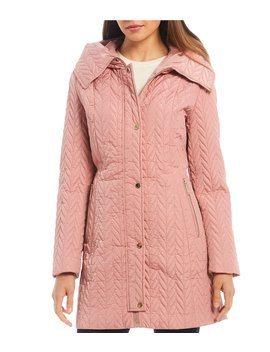 Hooded Button Front Quilted Coat by Kate Spade New York