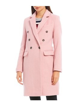 Double Breasted Brushed Twill Wool Blend Topper Coat by Court & Rowe