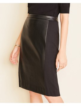 Petite Faux Leather Paneled Pencil Skirt by Ann Taylor