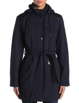 Removable Hood Belted Soft Shell Parka by Vince Camuto