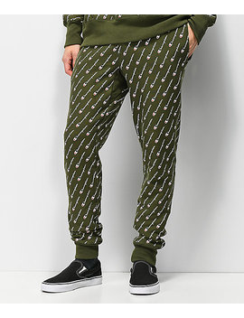 Champion Reverse Weave All Over Print Hiker Green Jogger Sweatpants by Champion