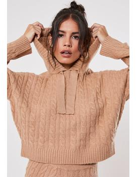 Premium Camel Co Ord Cable Knit Hooded Sweater by Missguided