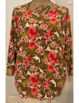 Nwt Talbots Woman 3/4 Sleeved Multicoloured Floral Cardigan Sweater   Sz 1 X by Talbots