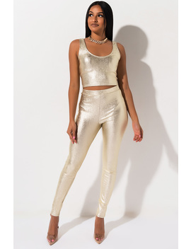 Turn Up The Lights Metallic Pants by Akira