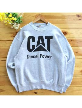 Vintage 90s Cat Made In Usa Diesel Power Crewneck Sweatshirt Jumper Pullover Grey / Black Color Size Medium Firs Large by Etsy