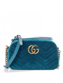 Gucci Velvet Matelasse Small Gg Marmont Petrol Blue by Gucci