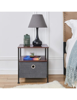 Danya B Nightstand End/Side Table With Shelf And Fabric Storage Drawer by Generic