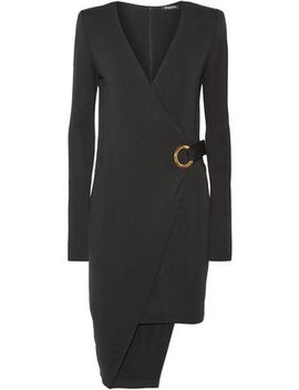 Asymmetric Wool Wrap Mini Dress by Balmain