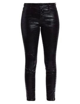 Le High Croc Embossed Coated Crop Skinny Jeans by Frame