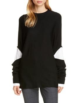 Layered Look Wool Sweater by Tibi