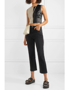 Dickinson Cropped Two Tone Leather Top by 16 Arlington