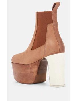 Elastic Kiss Leather Platform Ankle Boots by Rick Owens