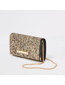Gold Glitter Boxy Underarm Bag by River Island
