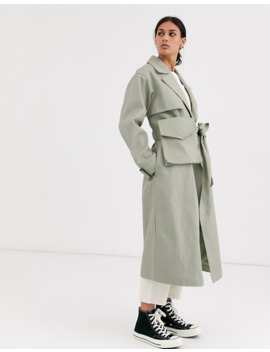 Asos Design Canvas Fanny Pack Trench Coat In Khaki by Asos Design