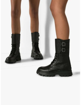 Black Military Buckle Boots by Miu Miu
