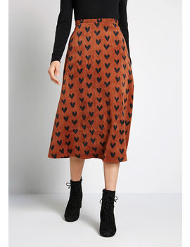 A Little Heart To Heart Corduroy Skirt by Compania Fantastica