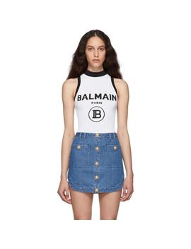 White Knit Logo Bodysuit by Balmain