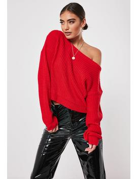 Red Knit Off Shoulder Sweater by Missguided