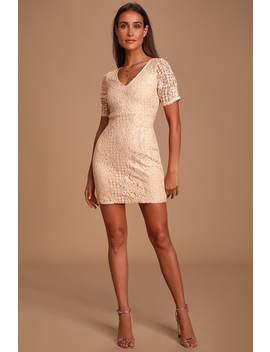 Tatianna Blush Pink Lace Short Sleeve Mini Dress by Lulus