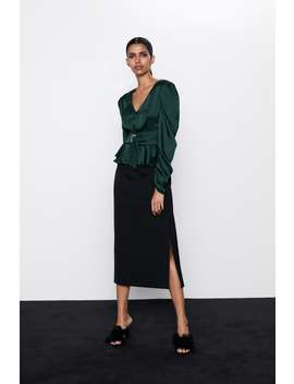 Belted Satin Effect Top by Zara