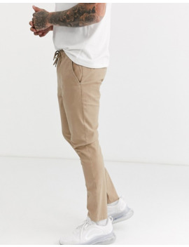 Asos Design Skinny Chinos With Elastic Waist In Stone by Asos Design