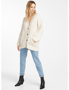 Embossed Cable Loose Cardigan by Icône