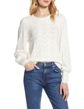 Curved Chevron Pointelle Sweater by Halogen®