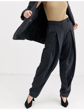 & Other Stories Capsule Tapered Wool Pants In Dark Gray by & Other Stories