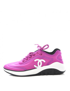 Chanel Lycra Womens Cc Sneakers 7.5 Dark Pink by Chanel