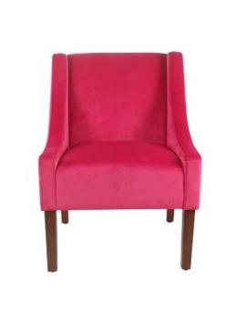 Pink Velvet Modern Velvet Swoop Arm Accent Chair by Homepop