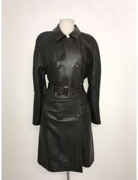 M&S   Ladies Brown Real Leather Belted Coat   Size 14   Gorgeous Long Jacket by Ebay Seller