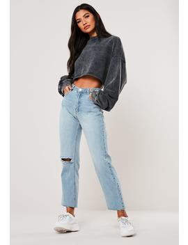 Blue Wrath High Waisted Slit Ripped Jeans by Missguided